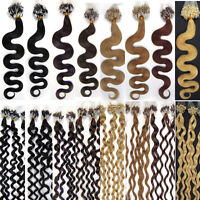 """20"""" MICRO BEAD/LOOP WAVY 100% Human Remy Hair extensions in 8 colours 50g 100s"""
