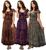 Bohemian Maxi Smocked Dress - Peasant Gauzy Bali Batik Ruffle -LotusTraders U645