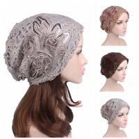 Fashion Women Lace Flower Slouchy Baggy Head Cap Chemo Beanie Cancer Hat Turban