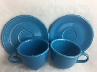 Set Of 2 Fiesta Home Laughlin China Cups and Saucers Fiestaware Blue Excellent