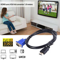 1.8M HDMI Gold Male To VGA HD-15 Male 15Pin Adapter Cable 6FT 1080P
