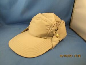 Tilley TWFC FISHING CAP WITH CAPE - Khaki/Olive, L (7 1/4 - 7 1/2) used gd cond