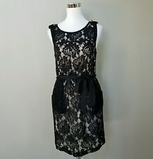 MONTEAU Black Sleeveless Lace Dress Zipper in Back Nude Sheer Size M MEDIUM