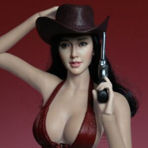 "[JB] 1:6 Ratio Toy Asian Female Woman Head Engraving Planting Black Wig 12"""