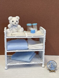 Vintage Artisan Dressed Metal Wicker Changing Table Dollhouse Miniature 1:12