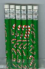 Christmas candy canes on green pencils. Set of 6!