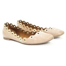 4d33eb68a3d Chloe Size 36 Beige Grommet Scalloped Leather Ballerina Ballet Flats Shoes
