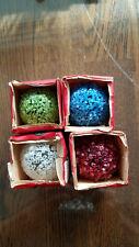 Lot of 4 Vintage GE Lighted Textured Snowball C-7 Christmas Light Bulbs TESTED