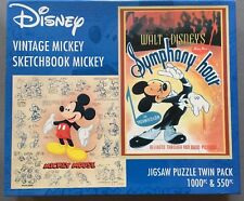 RARE DISNEY JIGSAW PUZZLES 2 In 1 VINTAGE 1000 & SKETCHBOOK MICKEY MOUSE 550 pc