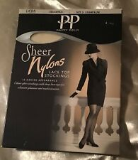 Pretty Polly Sheer Nylons Lace Top Stockings Size 2 10 Denier Gloss Champagne