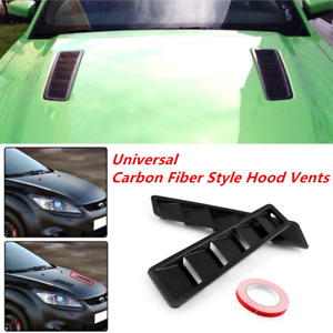 2X Carbon Fiber Look Style Hood Vent Louver Cooling Panel Trim Fit For All Cars