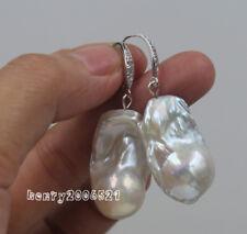 Huge 30 mm white baroque keshi reborn southsea pearl 925 silver earrings