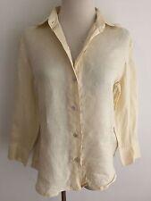 Linda Allard ELLEN TRACY Button-Front Linen Shirt Blouse Straw Yellow Size 6