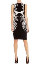 KAREN MILLEN BLACK & WHITE GEOMETRIC JACQUARD BODYCON DRESS -SIZE 4/UK 12-14-