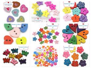 Bottoni in Legno Cuori , Stelle , Farfalle , Fiori , Pois Colorati scegli Forma