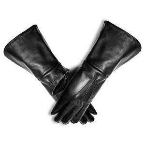 HR Men's Genuine Leather Motorcycle Gloves Riding Gauntlet Wind Breaker Unlined