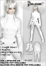 DOLLSFIGURE 1/6 Female White Crossover Bodysuit Leather Jumpsuit Clothes Set
