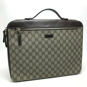 GUCCI GG Plus Zip Around Briefcase Business bag Beige x Brown 267919