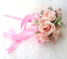 Flower-girl Floral Wand - Pink Rosebud Wand for Flower Girl, Wedding Flowers