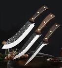 3Pcs/Set Hand-forged Butcher Knife Carbon Steel Meat Kitchen Knife Slicing Knife