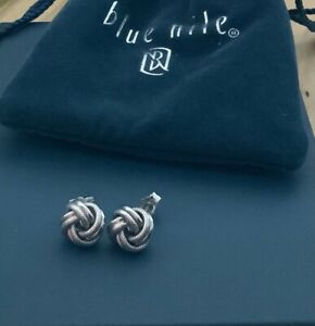 Blue Nile Roped Love Eternity Knot Earrings 925 Sterling Silver