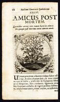 Antique Print-GRAPE VINE-FRIENDS AFTER DEATH-PROVERB-Sibmacher-Camerarius-1697