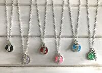 """1 x Silver Mermaid Sparkly Druzy Wish Silver Plated 18"""" Necklace New in Gift Bag"""