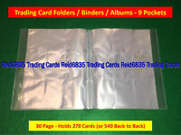 Trading Card Folders / Binders / Albums - 9 Pockets Pages (30 Page Folder)