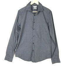 Reiss Men L Slim Fit Ronny Long Sleeve Button Up Shirt Gray Blue Textured Cotton