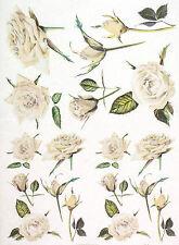 Carta di riso per Decoupage Decopatch Scrapbook Craft sheet Vintage Rose Bianche