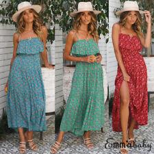 Women Boho Floral Long Maxi Dress Cocktail Party Evening Summer Beach Sundress
