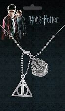 Harry Potter Hogwarts Crest And Deathly Hallows Dog Tag Pendant Brand New