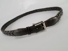 Coach Braided Leather Belt Woven Roller Buckle 3865 Mahogany Brown 42
