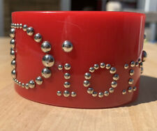 CHRISTIAN DIOR AUTHENTIC VINTAGE RED LUCITE CUFF BRACELET
