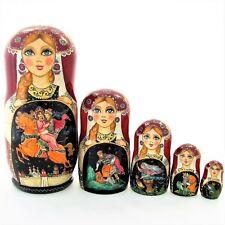 5 Poupées russes H19cm exclusive Palekh signé Matriochka Matrioschka Nested Doll