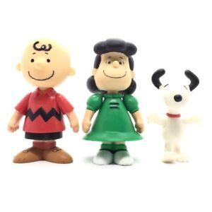 "Rare Snoopy Peanuts Vintage 3"" Action Figure Bundle Charlie Brown Lucy Toy Set"