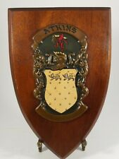Vintage Atkins Family Crest.  Coat of Arms. Copper Wood Plaque Made in Ireland