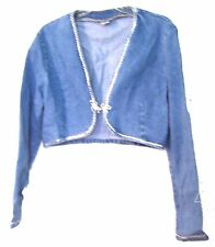 Fredericks of Hollywood Cropped Blue Jean Denim Bolero Shrug Jacket Sz M