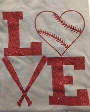 Baseball Love Shirt Mom, Sister Or Girlfriend Love Baseball Glitter Bats Heart