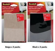 3M SCOTCH 3 PACKS FELT FLOOR CARE PADS SHEET SELF-STICK BEIGE BLACK 100 X 150MM