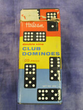 VINTAGE HALSAM DOUBLE NINE CLUB DOMINOES 55 PIECES SET NO 200