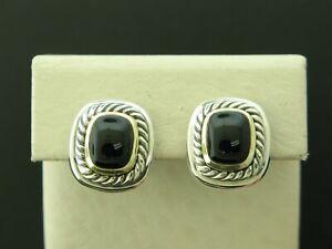 David Yurman Sterling Silver & 14K Yellow Gold Black Onyx Earrings, Cable Design
