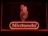Nintendo Mario Red Neon LED Light Sign Bar Pub Man Cave Game Room Etc