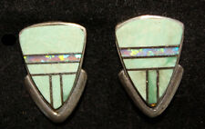Stunning Handmade Navajo Post Inlay Variscite and Sterling Silver Earrings