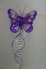FLOWER GIRL OR BRIDESMAID CADBURY PURPLE AND IVORY BUTTERFLY WAND