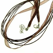 Cotton Cord with Organza Ribbon - Colour 'Brown'