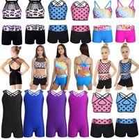 4-14 Aged Kids Girls Gymnastics Slim Bodysuit Ballet Dance Jazz Leotard Jumpsuit