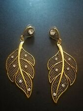 Gold Leaf design Earrings With Crystal Detail