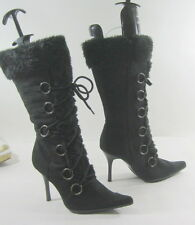 """NEW LADIES Black 4""""High Stiletto Heel Pointy Toe Sexy Mid-Calf BootS Size 7"""