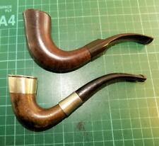 More details for a pair of well used good looks ok condition half bent wooden calabash pipes